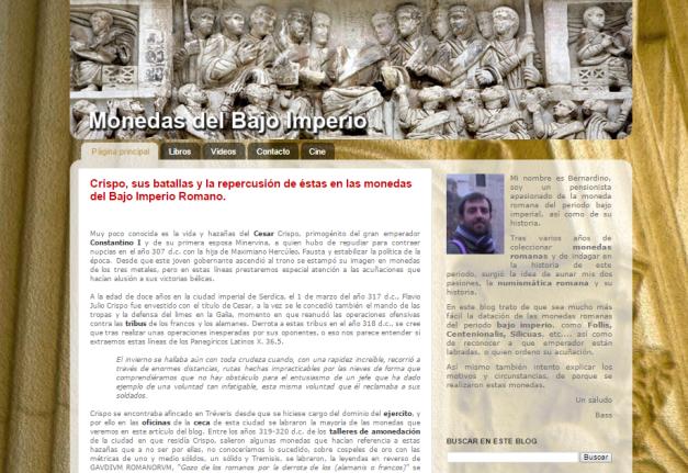 Captura de pantalla general de este gran y extinto blog de numismática
