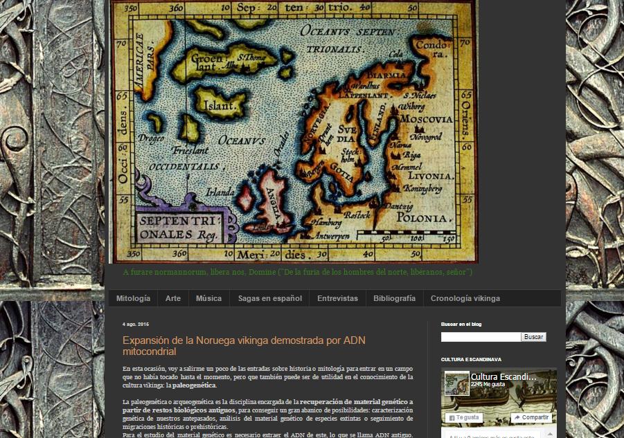 Captura de pantalla general del blog Cultura Escandinava