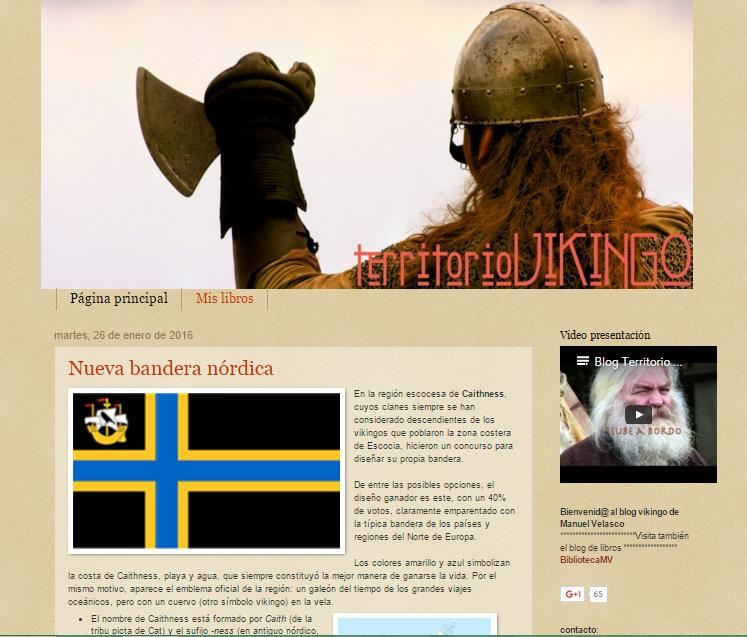 Captura de pantalla general del blog Territorio Vikingo