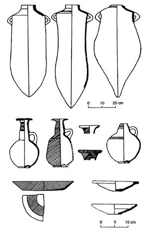 Dibujos basados en ejemplos reales de piezas cerámicas fenicias