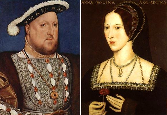 El rey inglés Enrique VIII y Ana Bolena, su segunda esposa