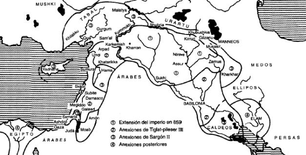 Extensión del imperio neoasirio entre el siglo IX y VII a.C.
