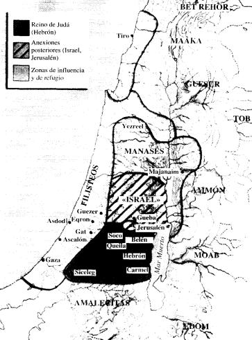 Mapa aproximado de la región de Palestina durante la monarquía de Israel de David