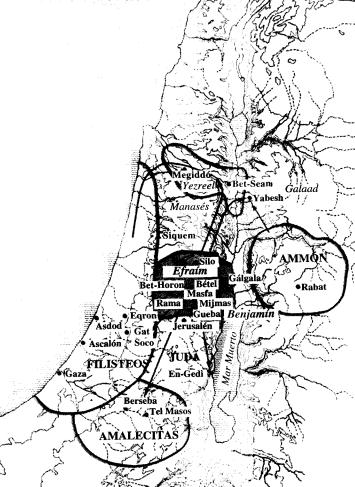 Mapa aproximado de Palestina durante el reinado de Saúl