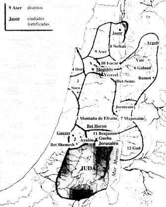 Mapa de los doce distritos financieros del reinado de Salomón