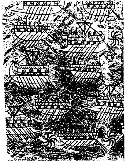 Relieve de Senaquerib (Nínive) en el que se puede ver la flota fenicia