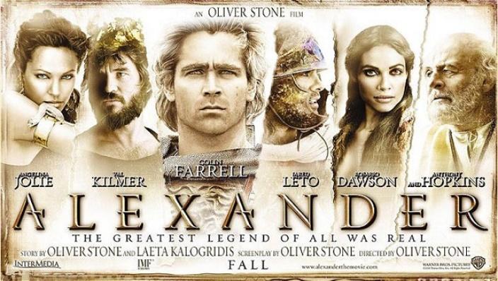 Uno de los carteles promocionales de la película de Oliver Stone, una de las representaciones de Alejandro Magno en el cine