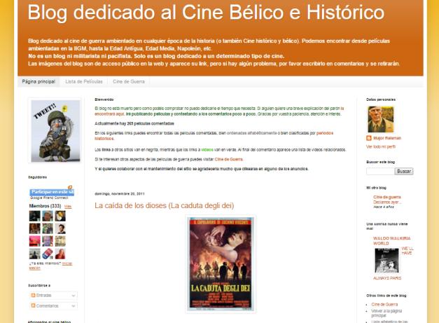 Captura de pantalla de este gran blog de cine bélico e histórico