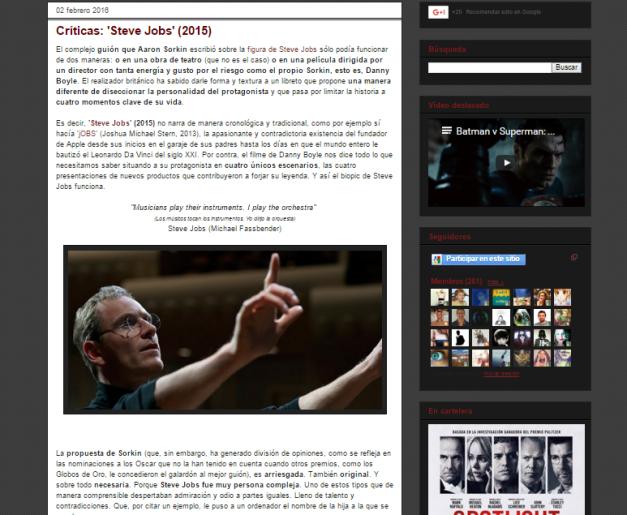Captura de pantalla de una de las críticas de este gran blog