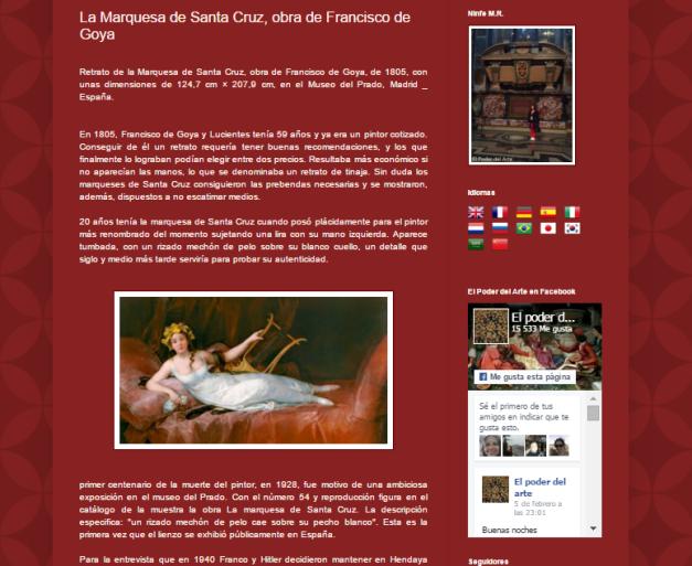 Captura de pantalla de uno de los artículos de este magnífico blog de Arte