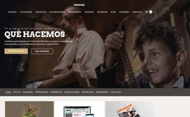 Captura de pantalla general de esta gran web de Historia y cine para dentro y fuera de las aulas de enseñanza