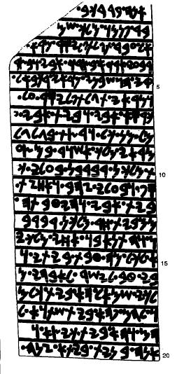 Dibujo basado en la inscripción real aramea de Bar-Rakib, rey de Sam´al