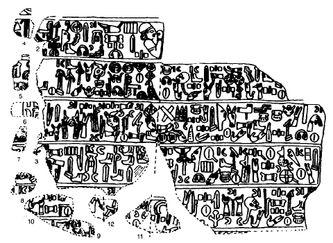 Dibujos basados en una inscripción jeroglífica hitita real de Katuwa, rey de Karkemish