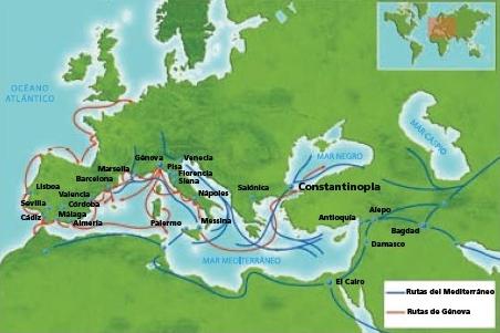 Ilustración 1 - Rutas comerciales europeas en el siglo XV
