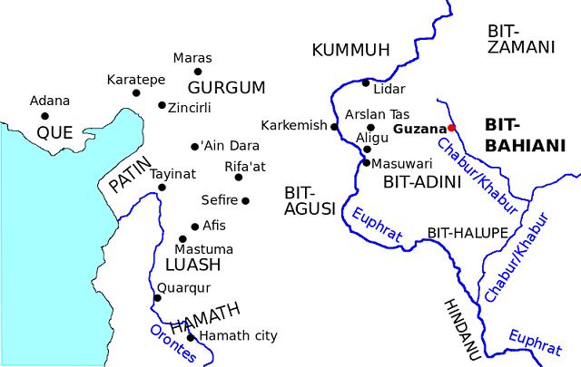 Otro mapa de los reinos y regiones arameas