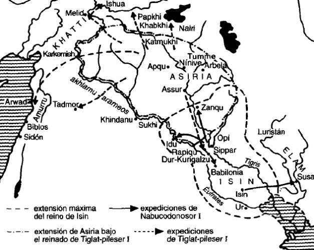 Mapa de Mesopotamia entre finales del siglo XII y principios del siglo XI a.C.
