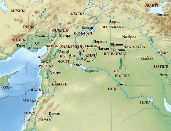 Ubicación de Bit Adini en un mapa de los arameos del oeste próximo oriental