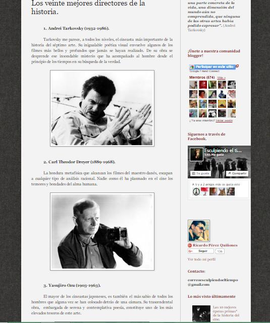 Captura de pantalla de uno de los artículos de este magnífico blog de cine