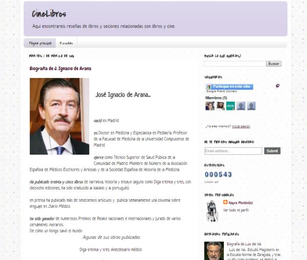 Captura de pantalla general del blog Cinelibros