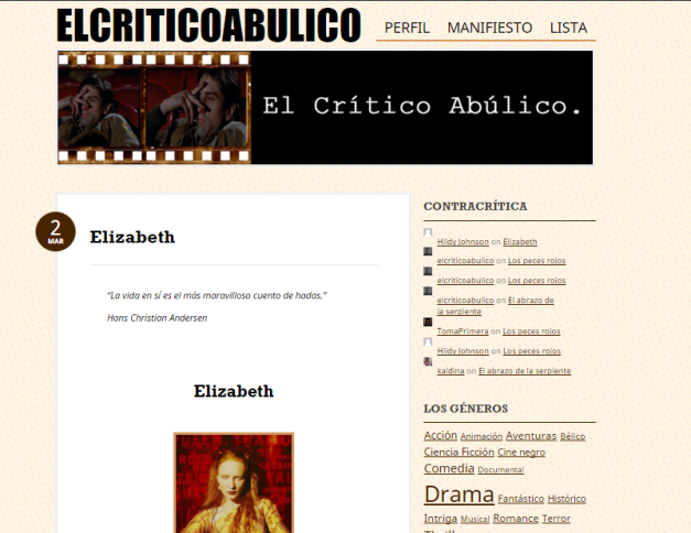 Captura de pantalla general del blog El crítico abúlico