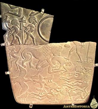 En la paleta de los buitres, otro de los documentos de la unificación podemos observar como el rey, masacra enemigos bajo la forma de un león