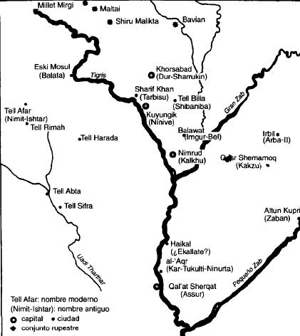 Mapa de Asiria con las principales ciudades del reino medio y neoasirio