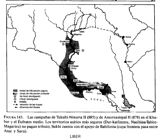 Mapa que muestra alguna de las campañas militares de Assurnasirpal II