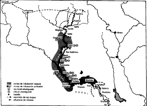 Mapa que muestra alguna de las campañas militares de Tukulti-Ninurta II