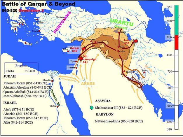 Mapa que muestra en inglés las campañas de Salmanassar III