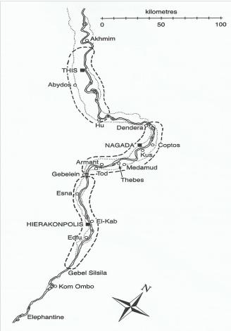 Mapa que muestra la localización de Abidos, necrópolis de la ciudad de Tinis, desde donde se realizó la unificación de las dos Tierras