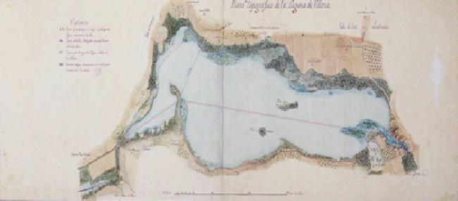 Mapa topográfico de la Laguna de Villena levantado alrededor de 1790, con vistas a su desecación