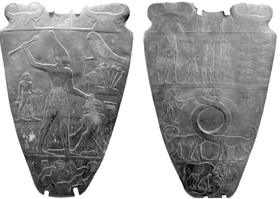 Paleta de Narmer donde vemos en el recto al rey con la corona roja y como un toro masacrando a enemigos y en el verso masacrando a los deltitas tocado con la corona blanca