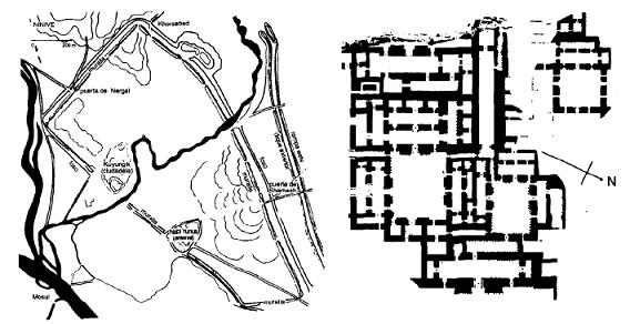 A la izquierda, planta de la ciudad de Nínive, a la derecha, planta del palacio de Senaquerib
