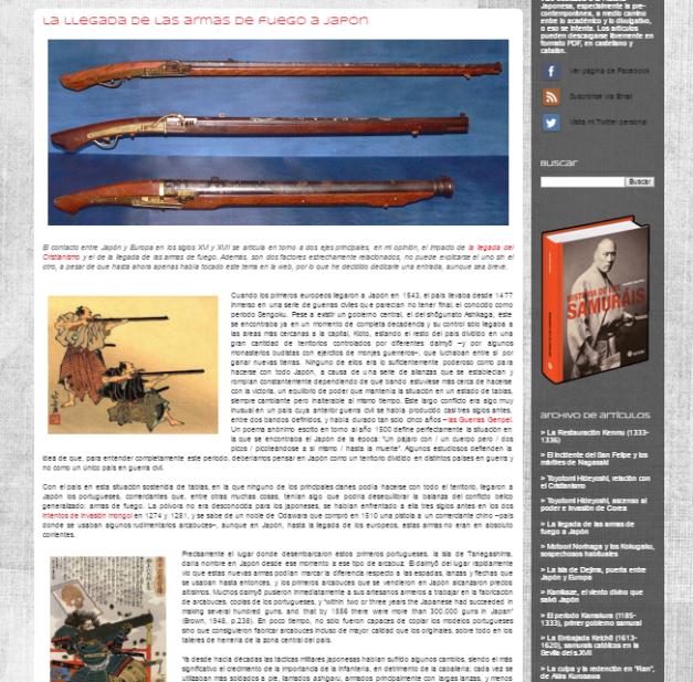 Captura de pantalla de uno de los artículos de este gran blog de Historia de Japón