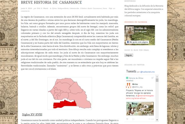 Captura de pantalla de uno de los artículos del blog