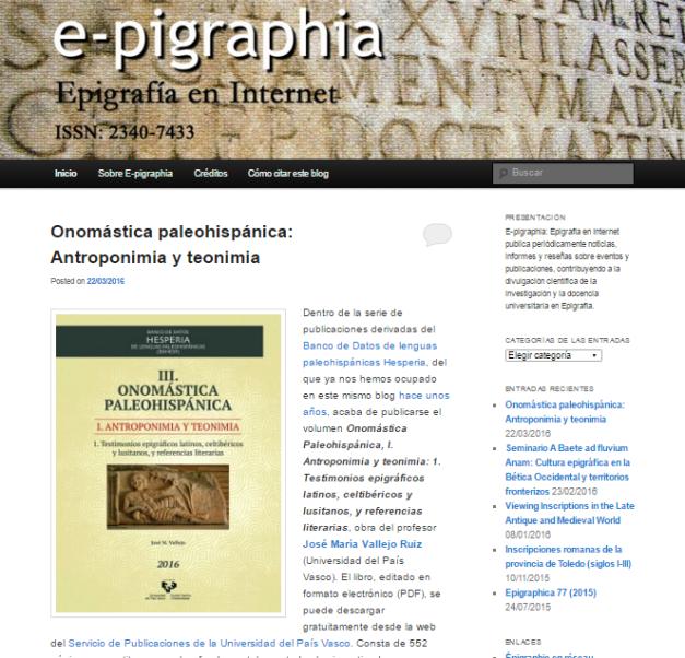 Captura de pantalla general de E pigraphia