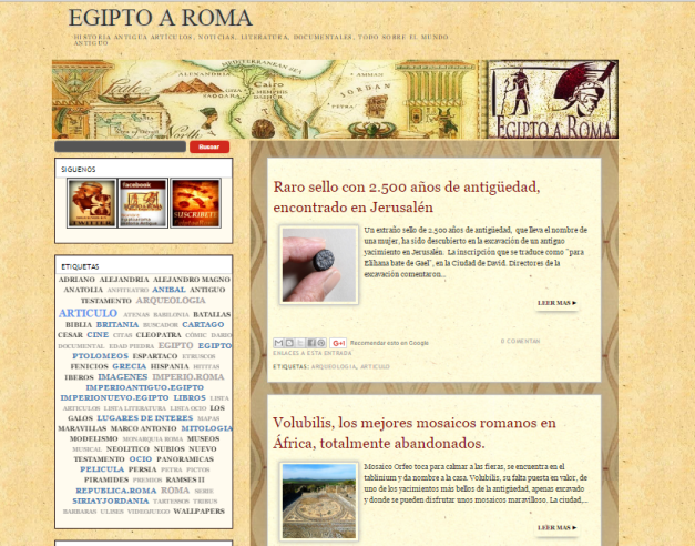Captura de pantalla general de este gran blog de Historia antigua