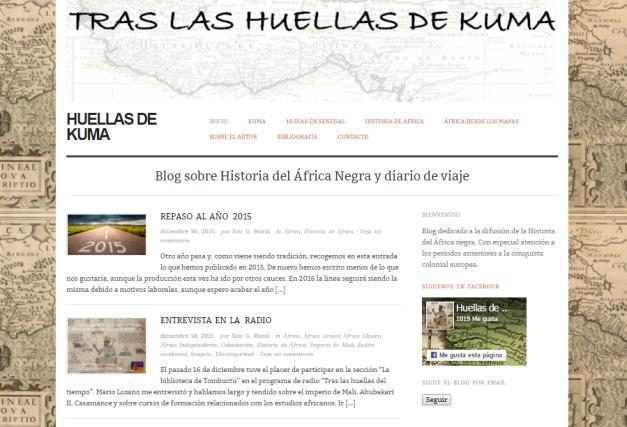 Captura de pantalla general de este maravilloso blog de Historia africana