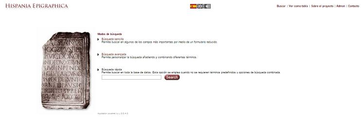 Captura de pantalla general de Hispania Epigraphica