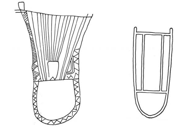 Dibujos de las liras representadas en las estelas de Luna y Zarza Capilla, respectivamente