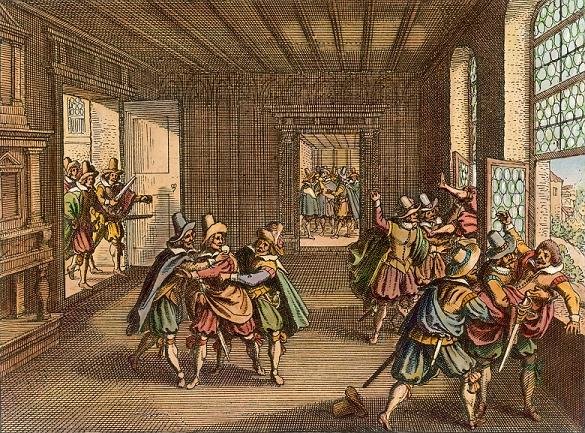 Ilustración 2 Matthäus Merian el VIejo, La defenestración de Praga, grabado en cobre