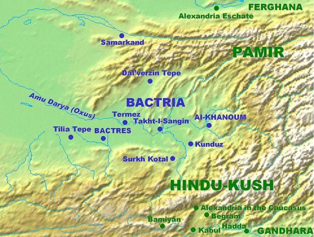 Mapa con las principales ciudades de Bactriana