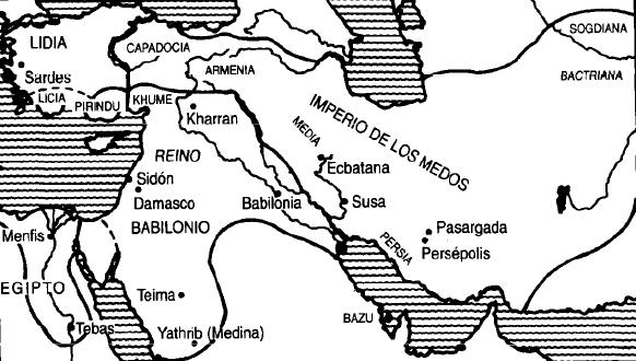 Mapa de Oriente Próximo en la primera mitad del siglo VI aC