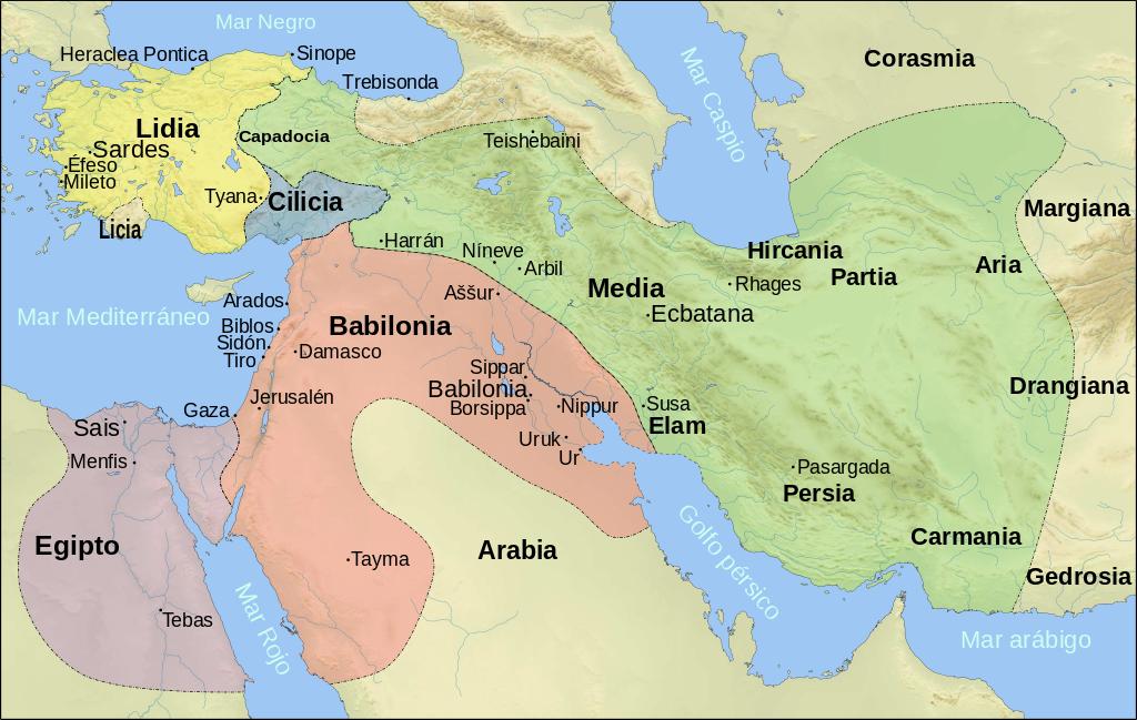 Mapa de Próximo Oriente en el siglo VI aC según los textos de Herodoto