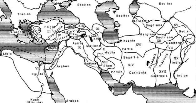 Mapa del imperio persa de tiempos del rey Darío I
