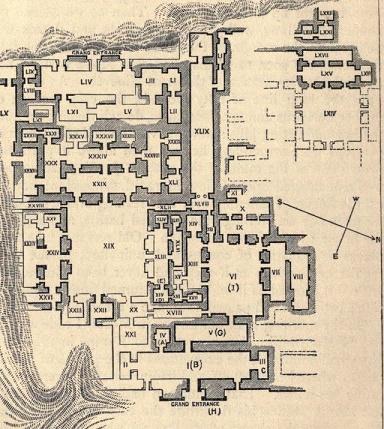 Plano del palacio de Senaquerib, donde estaban los restos de la biblioteca de Assurbanipal