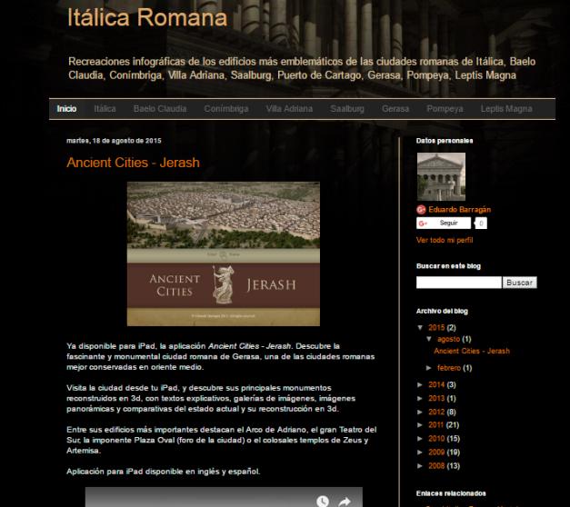 Captura de pantalla general de esta gran página de reconstrucciones romanas