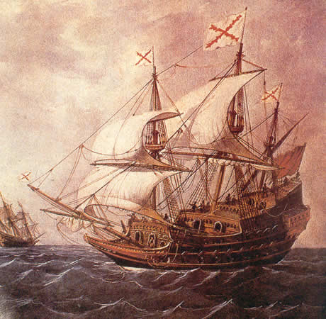 Cuadro de un galeón español del siglo XVII