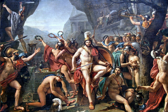 Cuadro del siglo XIX representando a Leónidas en la batalla de las Termópilas