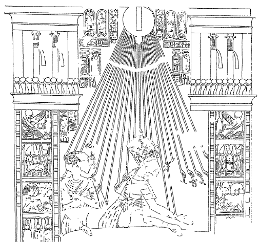 Dibujo de una escena en la que ya se ha representado a Akhenaton y Nefertiti al estilo amárnico